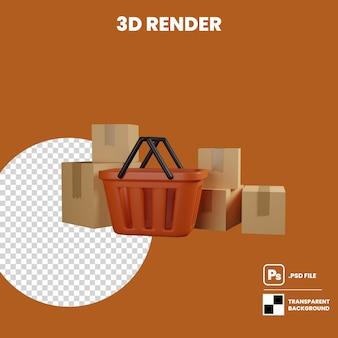 3d illustration plastic shopping basket and a stack of parcel box