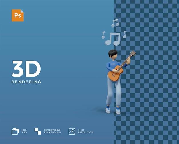 3d illustration playing guitar
