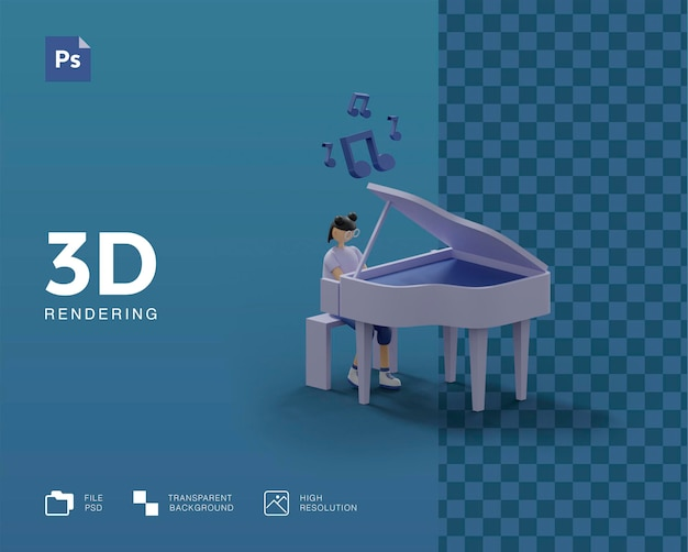 3d illustration playing piano