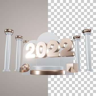 3dイラスト表彰台新年2022年