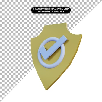 3d illustration police badge and checklist icon