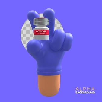 Illustrazione 3d. promuovere la vaccinazione e l'assistenza sanitaria