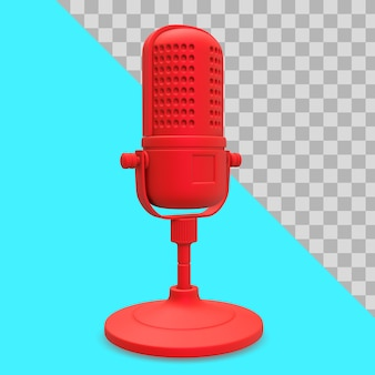 3d illustration red microphone for podcast or radio clipping path