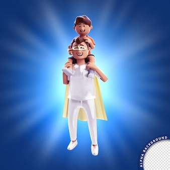 3d illustration render for father hero and son fathers day composition