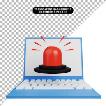3d illustration of security concept laptop