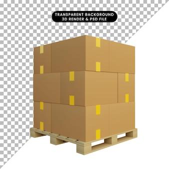 パレット上の段ボールの3dイラスト出荷スタック