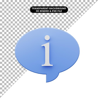 3d illustration of simple icon chat bubble information