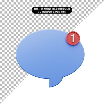 3d illustration of simple icon chat bubble notification