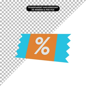 3d illustration simple icon discount tag