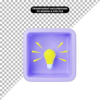 3d illustration of simple icon light lamp bulb on cube