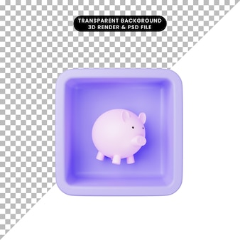 3d illustration of simple icon piggy banks on cube