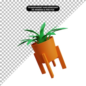 3d illustration of simple icon plant