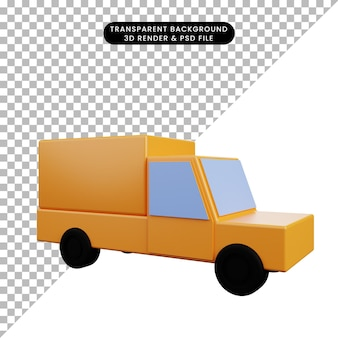 3dイラストシンプルなアイコン輸送ボックス車