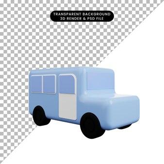 3dイラストシンプルなアイコン輸送車