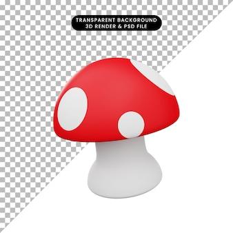 3d illustration of simple mushroom