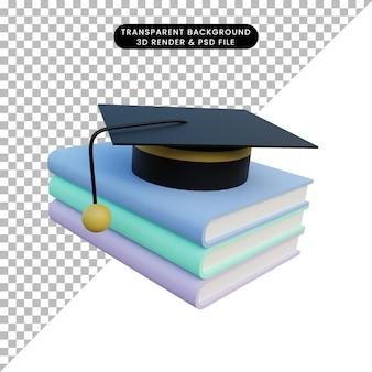 3d 일러스트 간단한 개체 책 및 토가 모자