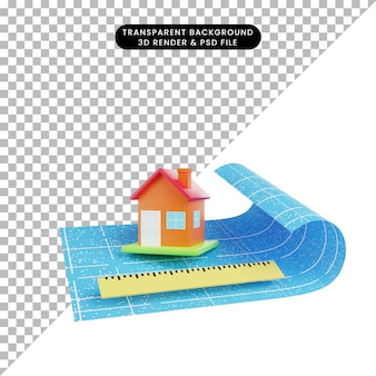 3d illustration of simple object house ruler with blueprint paper