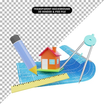 3d illustration of simple object house with blueprint ruler pencil orleon term
