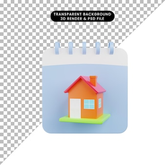 3d illustration of simple object house with calendar