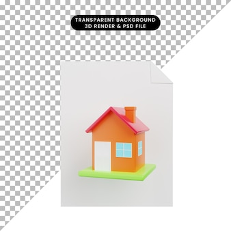 3d illustration of simple object house with paper