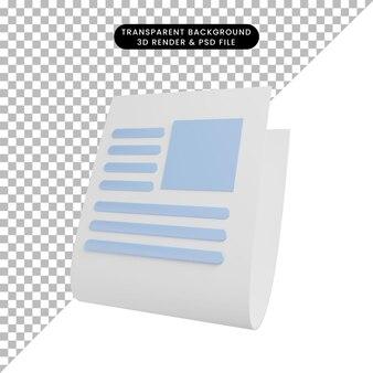 3dイラストシンプルオブジェクト新聞