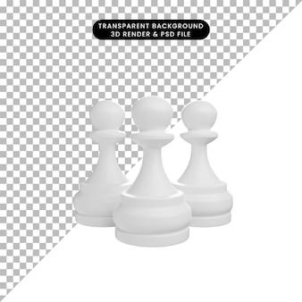 3d иллюстрации простой объект шахматных фигур