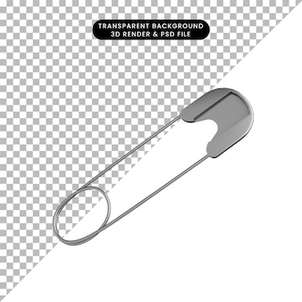 3d illustration of simple object pin