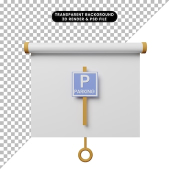 3d illustration of simple object presentation board front view with parking sign