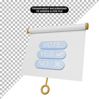 3d illustration of simple object presentation board slightly tilted view with vote