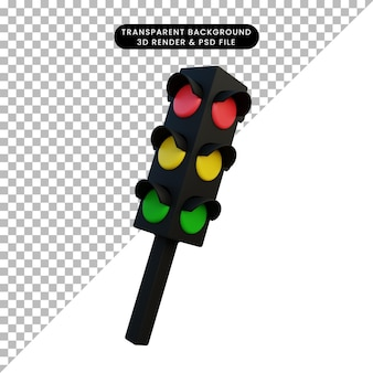 3 d イラスト シンプル オブジェクト トラフィック ランプ