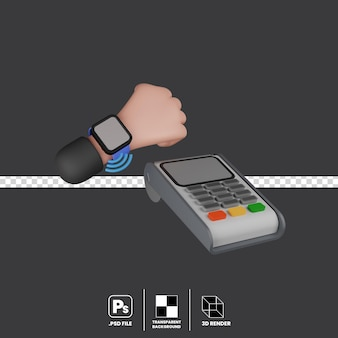 3d illustration of smart watch contactless payment