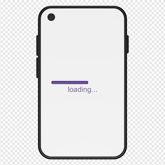 3d illustration of smartphone loading icon psd