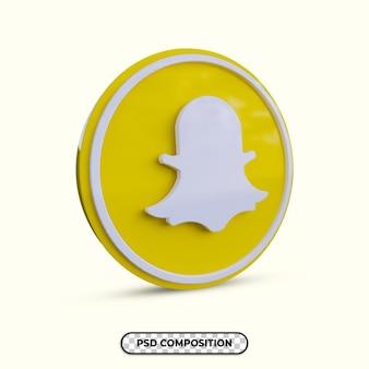 分離された3dイラストsnapchatロゴ
