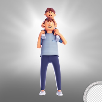 3d illustration son on fathers neck happy fathers day