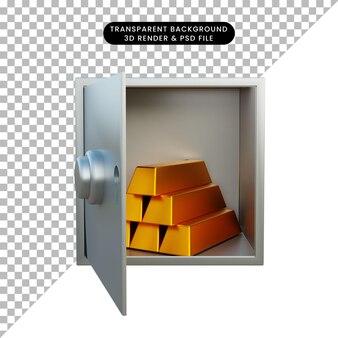 3d иллюстрации стопка золота на сейфе