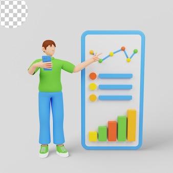 3d 그림입니다. 매출 성장 차트를 제시하고 분석하는 스타트업 관리자.