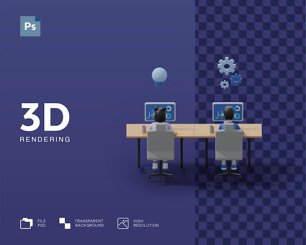 Работа в команде 3d иллюстрации