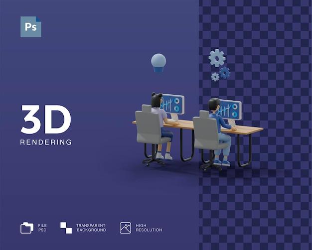 Работа в команде 3d иллюстрации Premium Psd