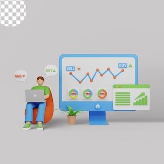 3d иллюстрации. крошечные люди, биржевые трейдеры за ноутбуком с графиком, покупают и продают акции