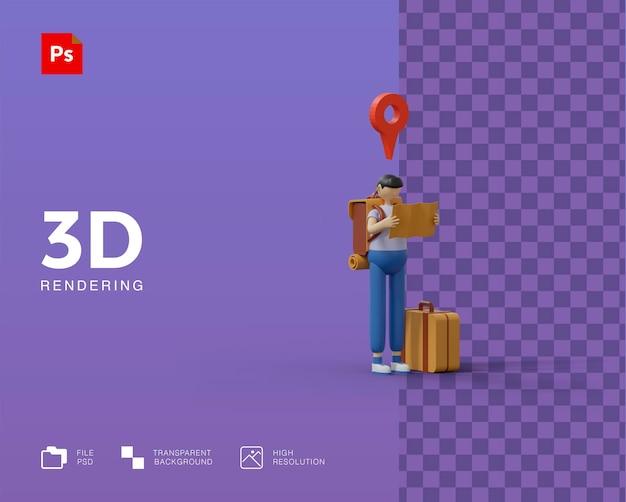 3d 일러스트 여행 프리미엄 PSD 파일