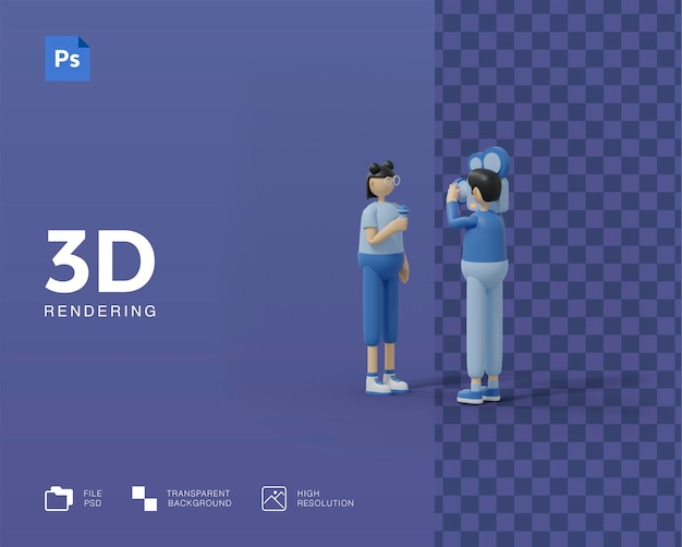 3d illustration tv journalist or news reporter concept. character with camera