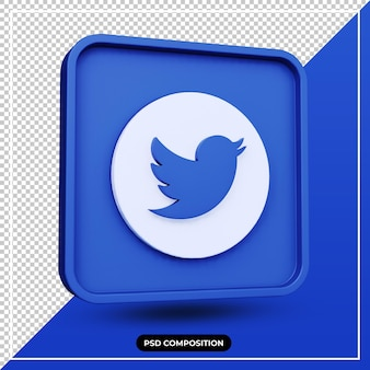 3d illustration twitter icon