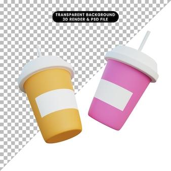 3d 그림 두 커피 컵