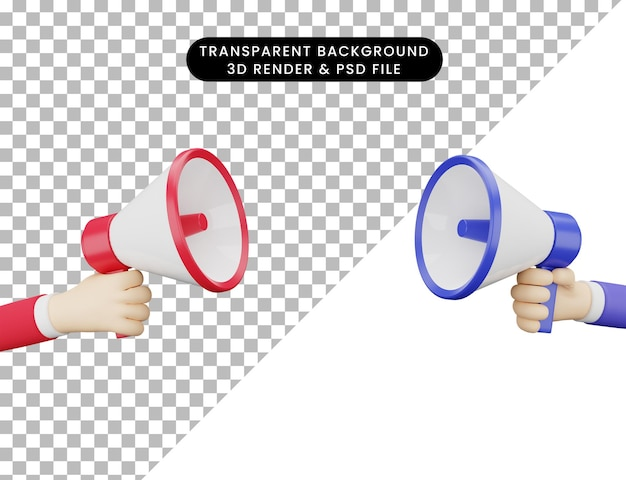 3d illustration two hand and megaphone