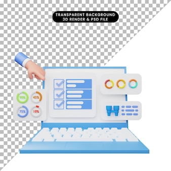 3d illustration of user interface on laptop