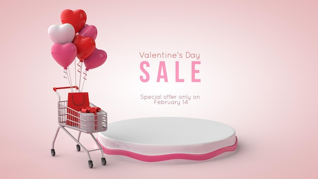 3d illustration of valentine's day podium mockup