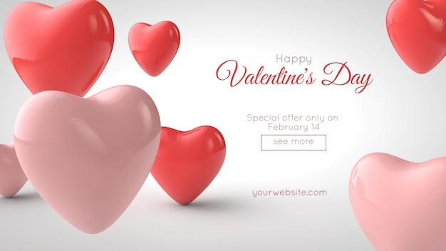 3d illustration of valentine's day postcard mockup