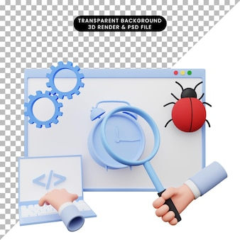 3d illustration of web illustration maintenance with gear laptop alarm clock magnifying hand and bug