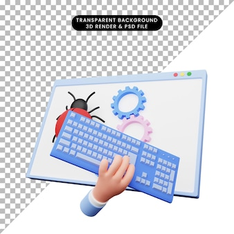 3d illustration of web illustration with hand with keyboard in front of bug and gear