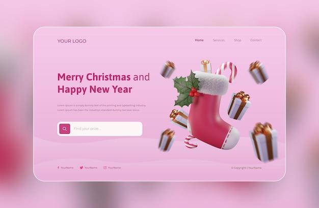 3dイラストレーションwebランディングページテンプレート、クリスマスソックスとギフト付き